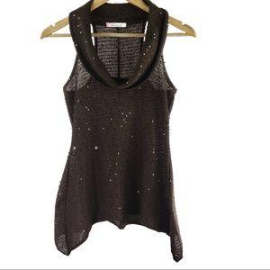 CHRIS & CAROL sleeveless mock turtle neck sequin